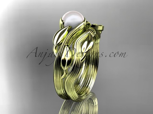 14kt yellow gold pearl leaf and vine engagement set AP273S