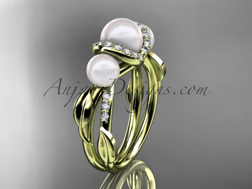 14k yellow gold diamond pearl engagement ring AP274