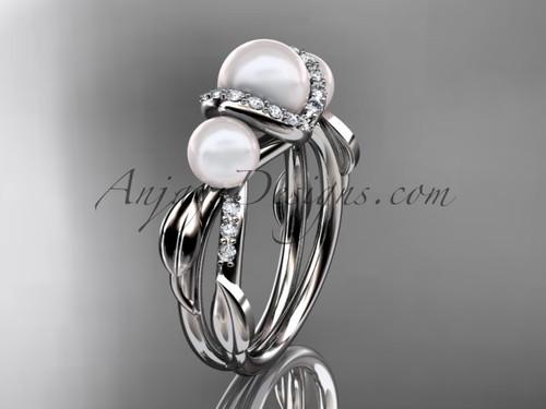 Platinum diamond pearl engagement ring AP274