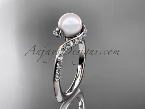 14kt white gold diamond pearl engagement ring AP277