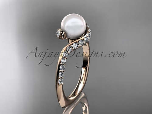 14kt rose gold diamond pearl engagement ring AP277
