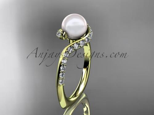 14kt yellow gold diamond pearl engagement ring AP277