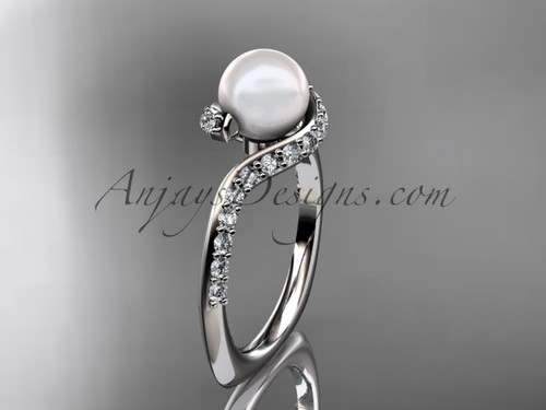 Elegant Platinum Ring, Diamond & Pearl Engagement Ring AP277