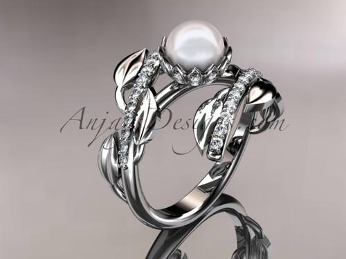 14kt white gold diamond pearl engagement ring AP287
