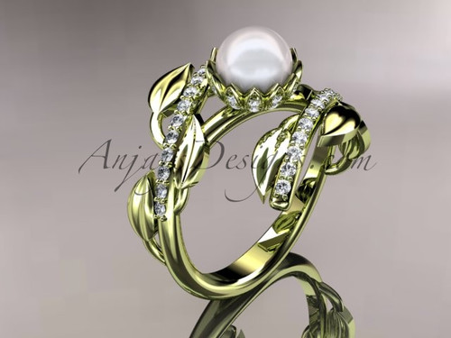 14kt yellow gold diamond pearl engagement ring AP287