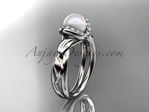 14kt white gold diamond pearl unique engagement ring AP289