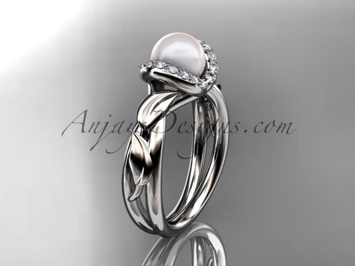 Platinum diamond pearl unique engagement ring AP289