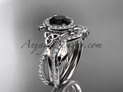 14kt white gold celtic trinity knot engagement set, wedding ring with a Black Diamond center stone CT789S