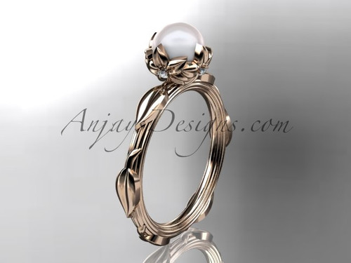 14k rose gold diamond pearl vine and leaf engagement ring AP290