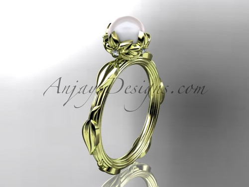 14k yellow gold diamond pearl vine and leaf engagement ring AP290