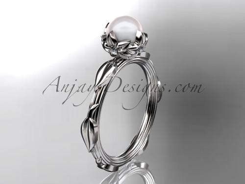 Platinum diamond pearl vine and leaf engagement ring AP290