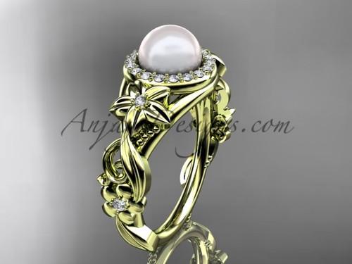 Halo Diamond Pearl  Engagement Ring Yellow Gold Ring AP300