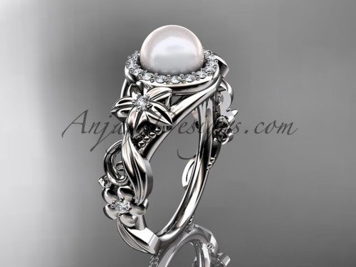 Halo Diamond Pearl  Engagement Ring Platinum Ring AP300