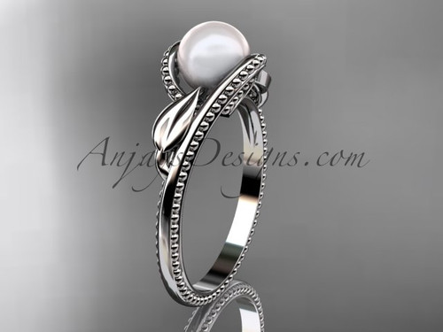 Unique 14kt white gold leaf and vine pearl engagement ring AP301