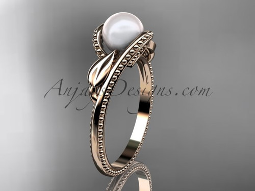 Unique 14kt rose gold leaf and vine pearl engagement ring AP301