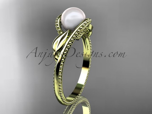 Unique 14kt yellow gold leaf and vine pearl engagement ring AP301