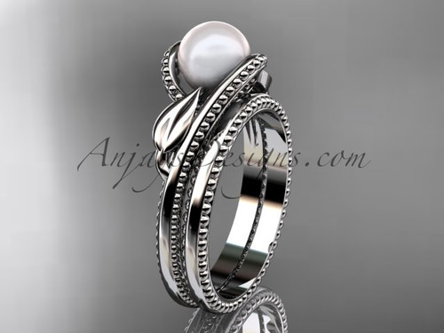Unique 14kt white gold leaf and vine pearl engagement set AP301S