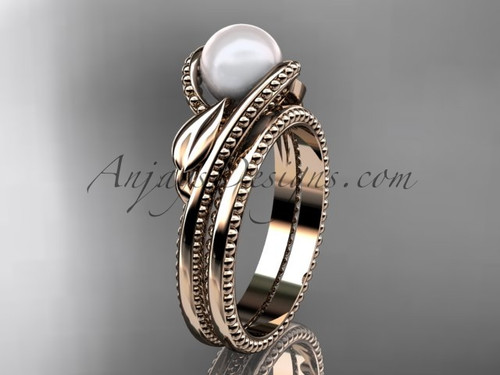 Unique 14kt rose gold leaf and vine pearl engagement set AP301S