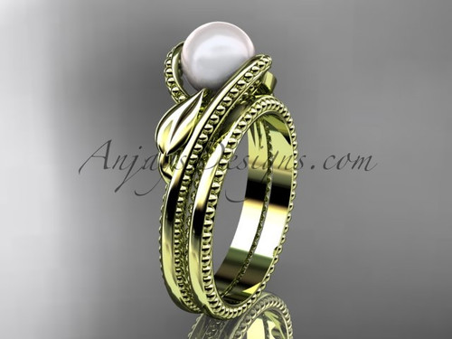 Unique 14kt yellow gold leaf and vine pearl engagement set AP301S