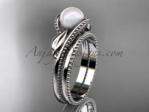 Unique Platinum leaf and vine pearl engagement set AP301S