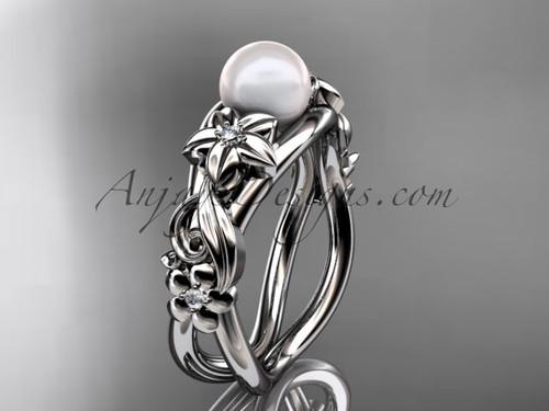 Unique 14kt white gold diamond floral pearl engagement ring AP302