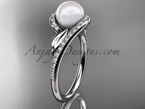 White Gold Pearl Leaf Engagement Ring, Diamond Ring AP317