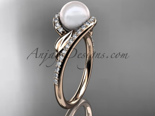 Rose Gold Leaf Pearl Engagement Ring, Diamond Ring AP317