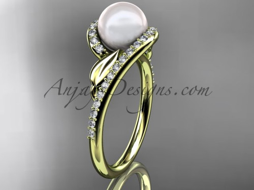 Yellow Gold Pearl Leaf Wedding Ring, Diamond Ring AP317