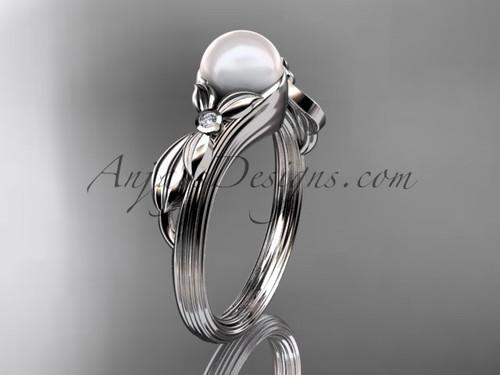 Unique 14kt white gold diamond floral pearl engagement ring AP324