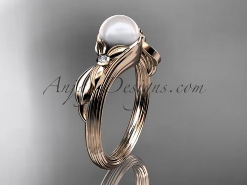 Unique 14kt rose gold diamond floral pearl engagement ring AP324