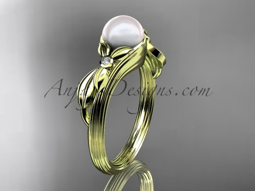 Unique 14kt yellow gold diamond floral pearl engagement ring AP324