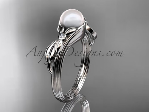 Unique Platinum diamond floral pearl engagement ring AP324