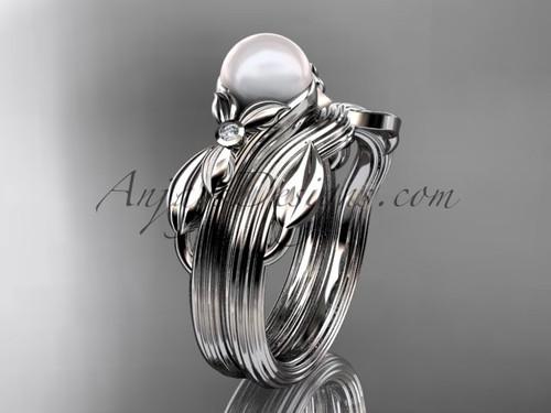 Unique Platinum diamond floral pearl engagement set AP324S