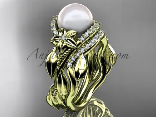 14kt yellow gold diamond pearl unique engagement set AP326S
