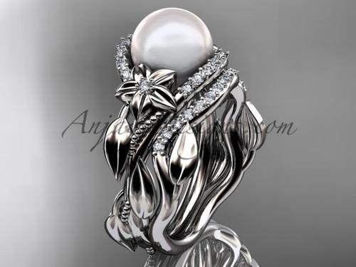 Platinum diamond pearl unique engagement set AP326S