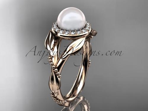 14kt rose gold diamond pearl unique engagement ring AP328