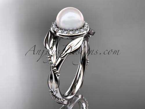 Platinum diamond pearl unique engagement ring AP328