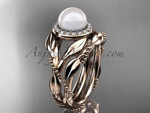 14kt rose gold diamond pearl unique engagement set AP328S