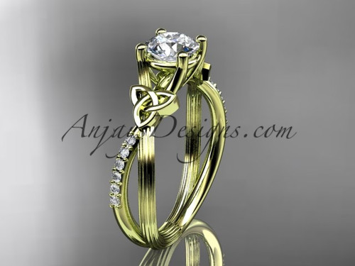 14kt yellow gold diamond celtic trinity knot wedding ring, engagement ring CT7214