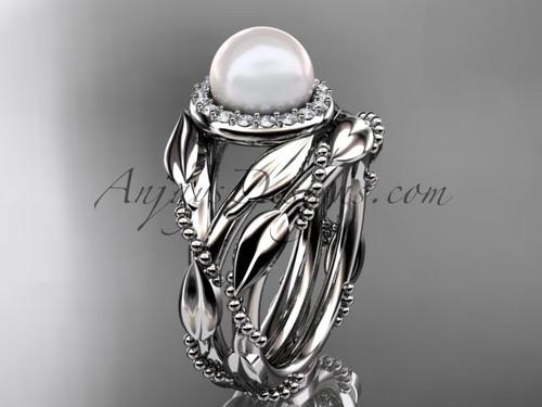 Platinum diamond pearl unique engagement set AP328S