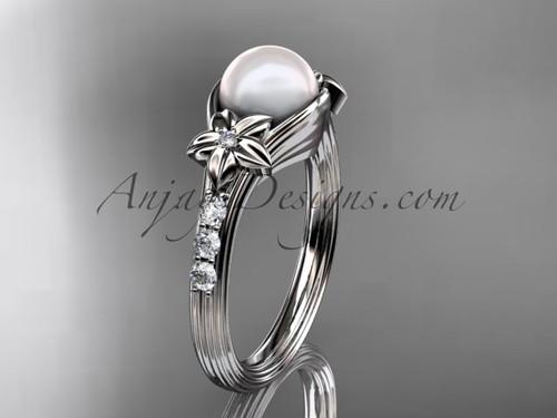 Pearl Diamond Engagement Ring White Gold flower Bridal Ring AP333