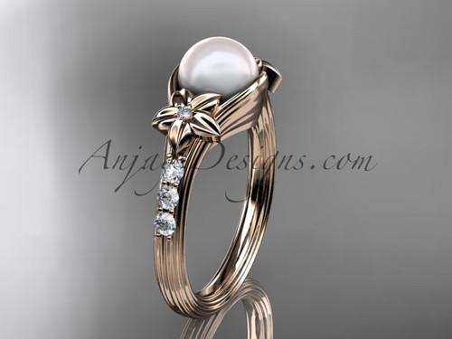 Pearl Diamond Engagement Ring Rose Gold Floral Wedding Ring AP333