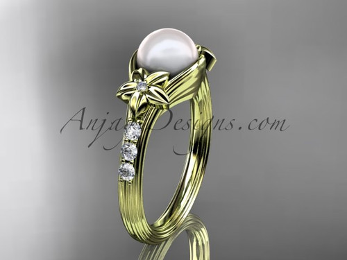 Pearl Diamond Engagement Ring Yellow Gold Flower Ring AP333