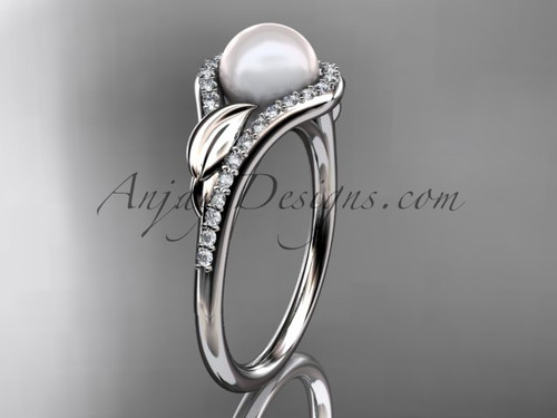 14k white gold diamond pearl leaf engagement ring AP334