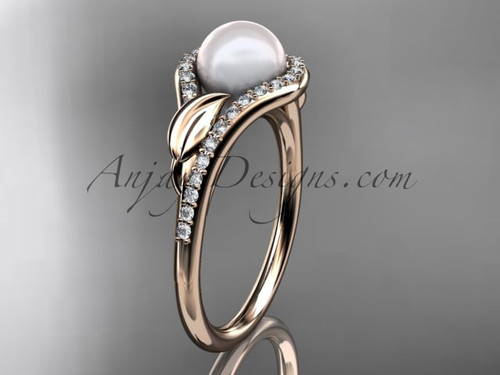 14k rose gold diamond pearl leaf engagement ring AP334