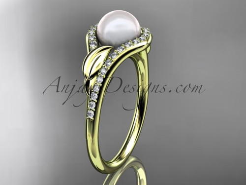 14k yellow gold diamond pearl leaf engagement ring AP334