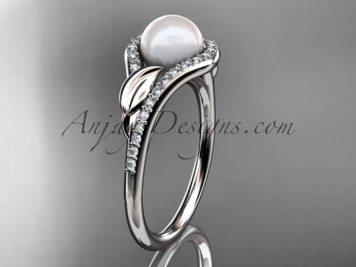 Platinum diamond pearl leaf engagement ring AP334