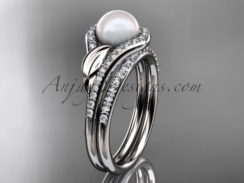 14k white gold diamond pearl leaf engagement set AP334S