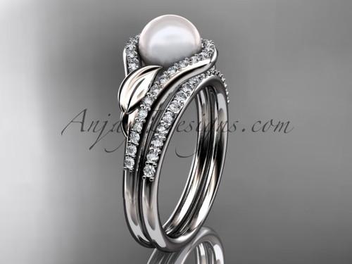 Platinum diamond pearl leaf engagement set AP334S