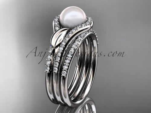 14k white gold diamond pearl leaf engagement ring with a double matching band AP334S